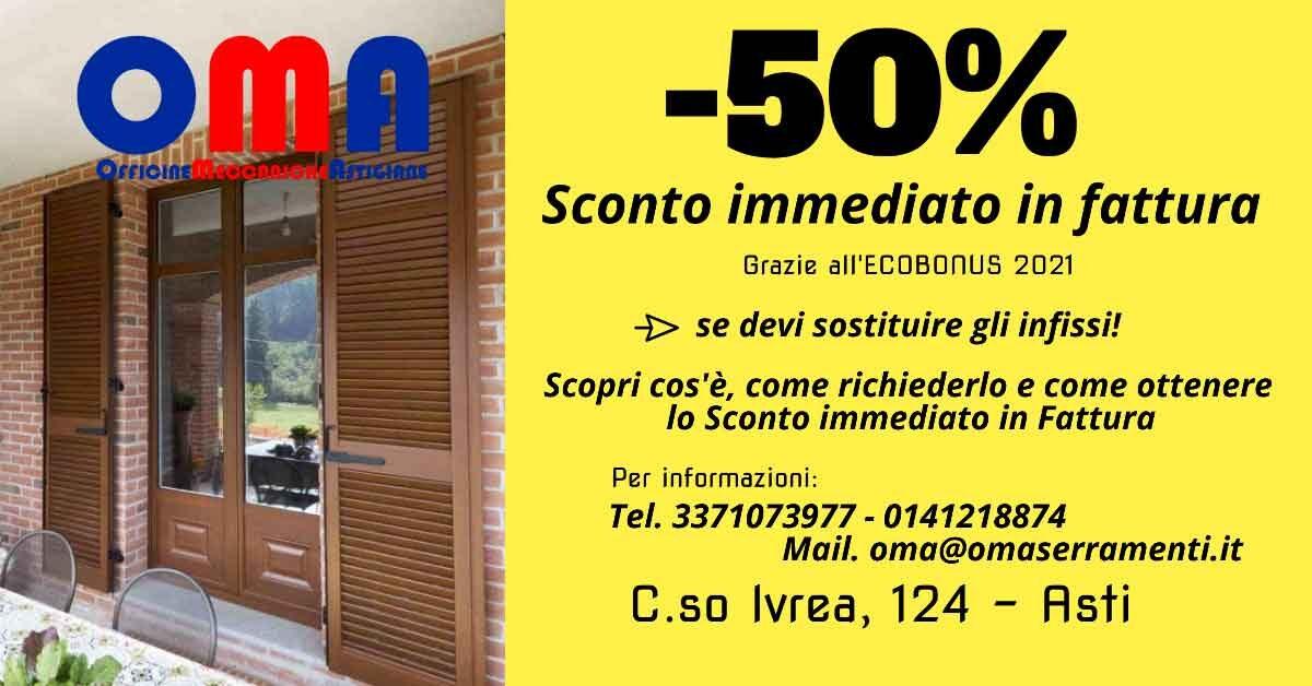 Read more about the article Sconto 50% in fattura sui serramenti